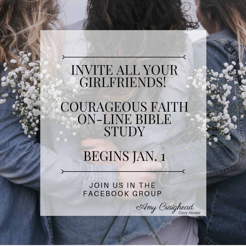 On-Line Study - We'll be studying Courageous Faith with an On-Line Group starting January 1, 2019. Bible study is always better with friends. Invite who you want to be there!Follow the link to join the Group on Facebook.Details coming soon!