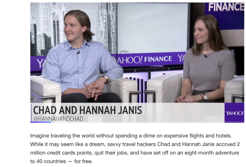 Yahoo Finance - How 2 Young Travel Hackers Booked 40 Flights for Free