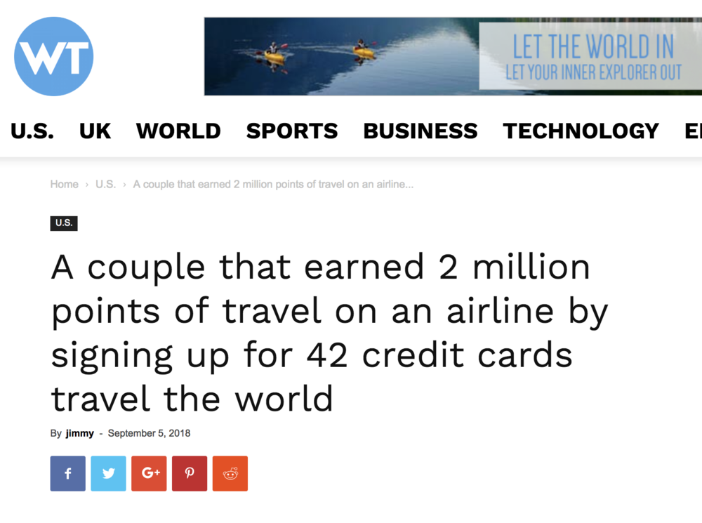 WT - A couple that earned 2 million points of travel on an airline by signing up for 42 credit cards travel the world