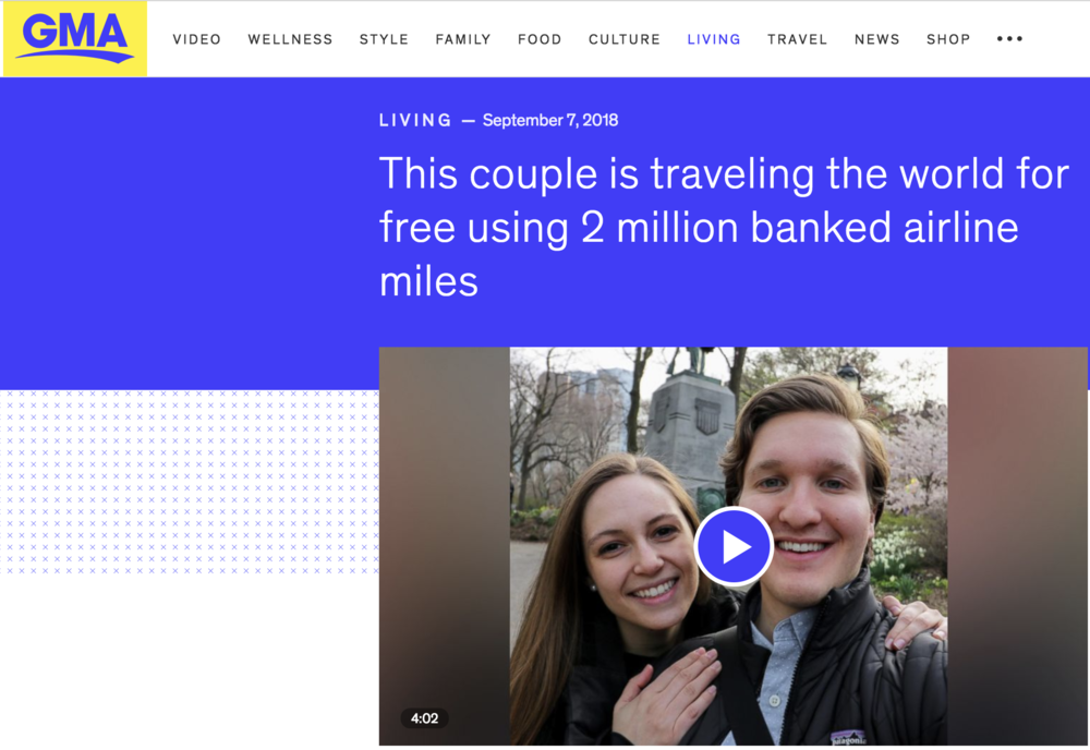 Good Morning America - This couple is traveling the world for free using 2 million banked airline miles