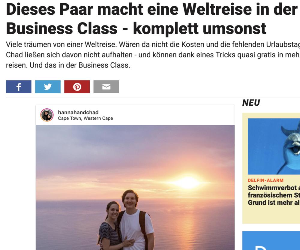 Stern.de - Dieses Paar macht eine Weltreise in der Business Class - komplett umsonst