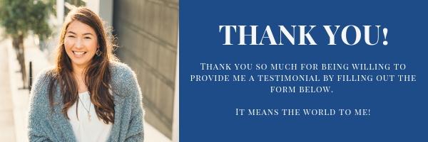 Thank you for testimonial