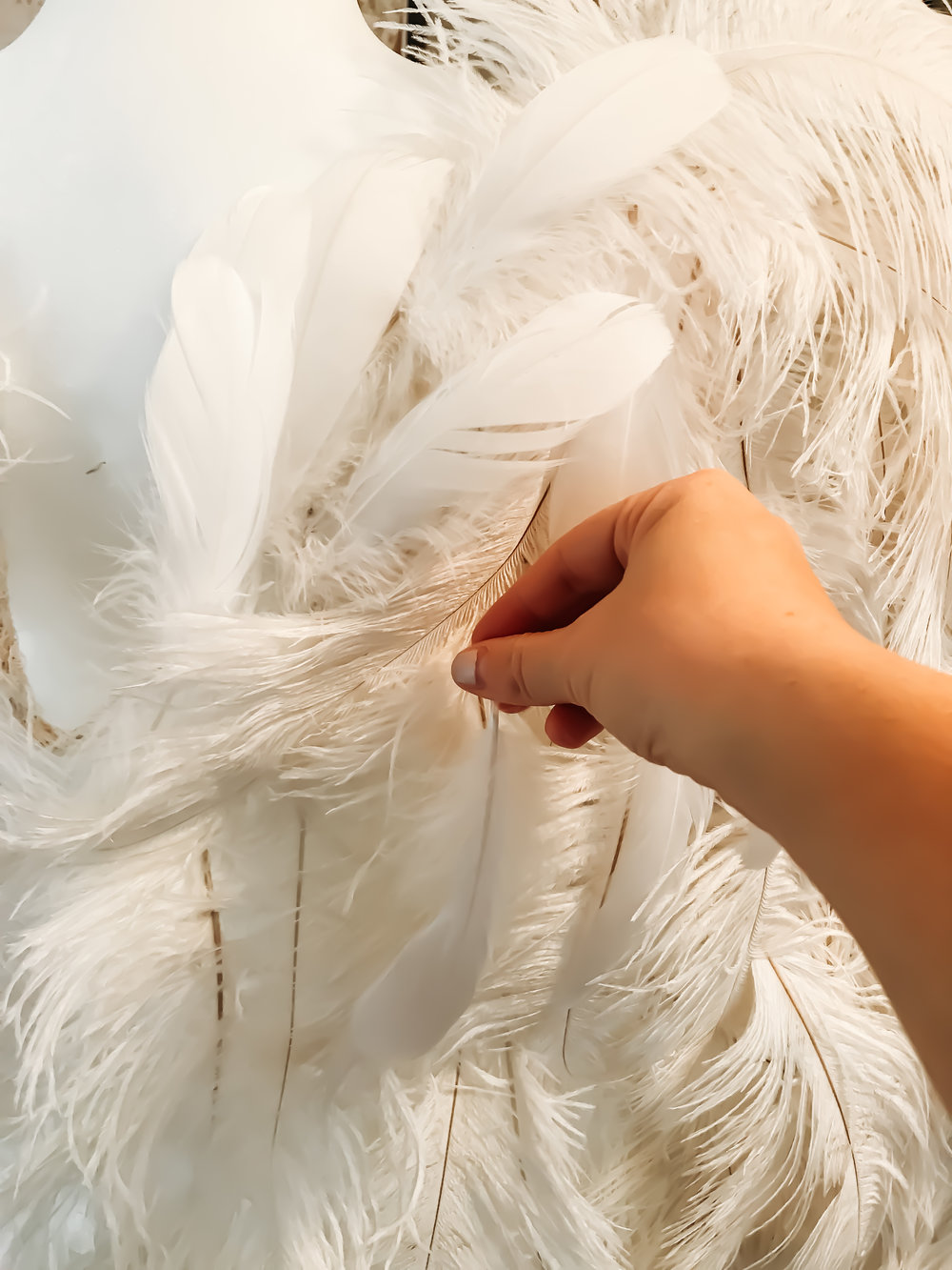 Cover it with the pretty while goose feathers