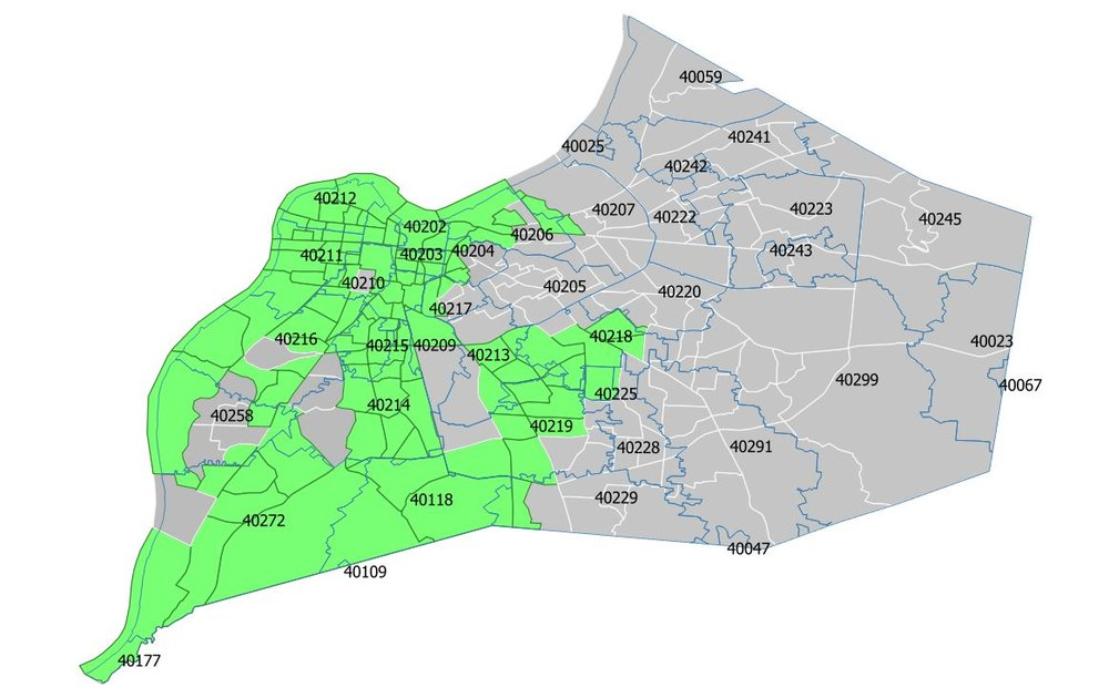 The map above shows LHOME's targeted Investment Area in green, with all other areas in grey. This map is of the Greater Louisville area, with zipcodes outlined in blue. At least 60% of LHOME's loans and financial coaching services must go to individuals and small businesses inside this Investment Area.