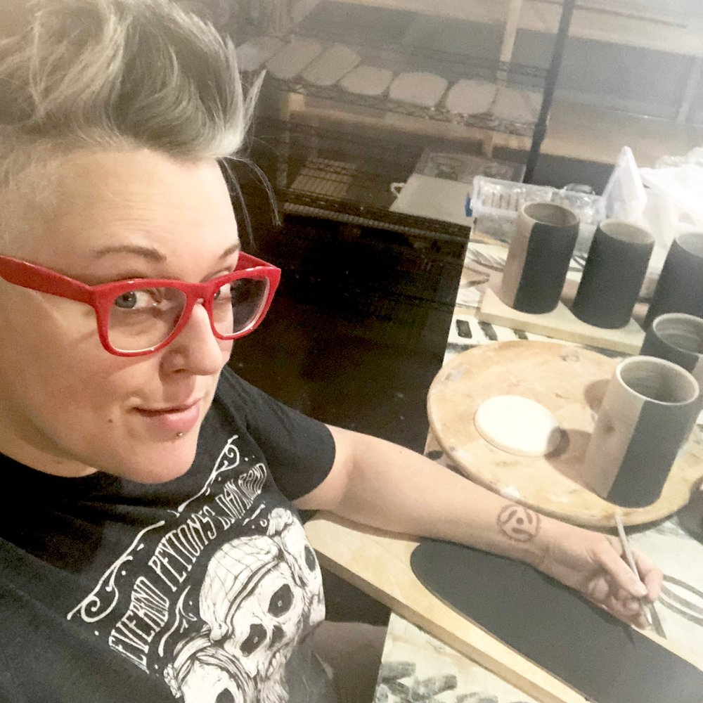 Rebecca Prowse - Rebecca Graves-Prowse is the creative powerhouse behind the functional pottery business, Gravesco Pottery.  You can find her pottery + Indianapolis themed mugs at the Inner City Artist's Collective.