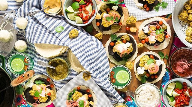 One of my fave pics from my next book Vegan Goodness: FEASTS 💛 this here is Black Bean and Crumbed Cauliflower Tacos with condiments galore. Such a yum thing to enjoy around the table with some Spicy Ginger Margaritas and good friends 💞 I'm a broken record I know, but you can preorder this puppy via the link in my profile (it's SMART so it will take you to the right site for whatever country you live in). It's out at the end of September, a month before my next human baby is due to join us 👶🏼 #VGFeasts #veagan #vegetarian #taco #tacotuesday #hautecuisines #feedfeed @thefeedfeed #food52 @food52 #plantbased #cleaneating #foodporn