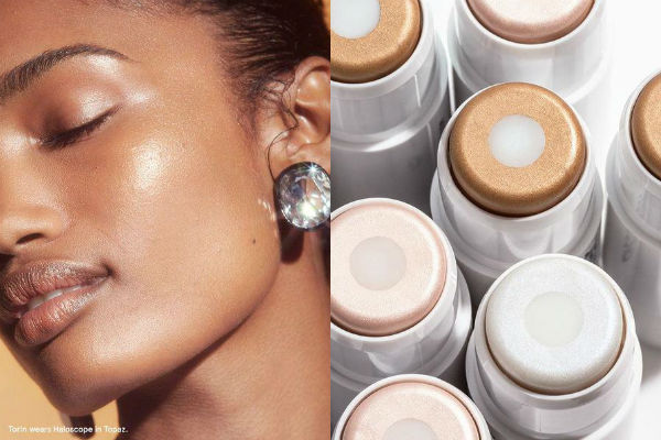 Glossier model Torin wears Haloscope in Topaz.