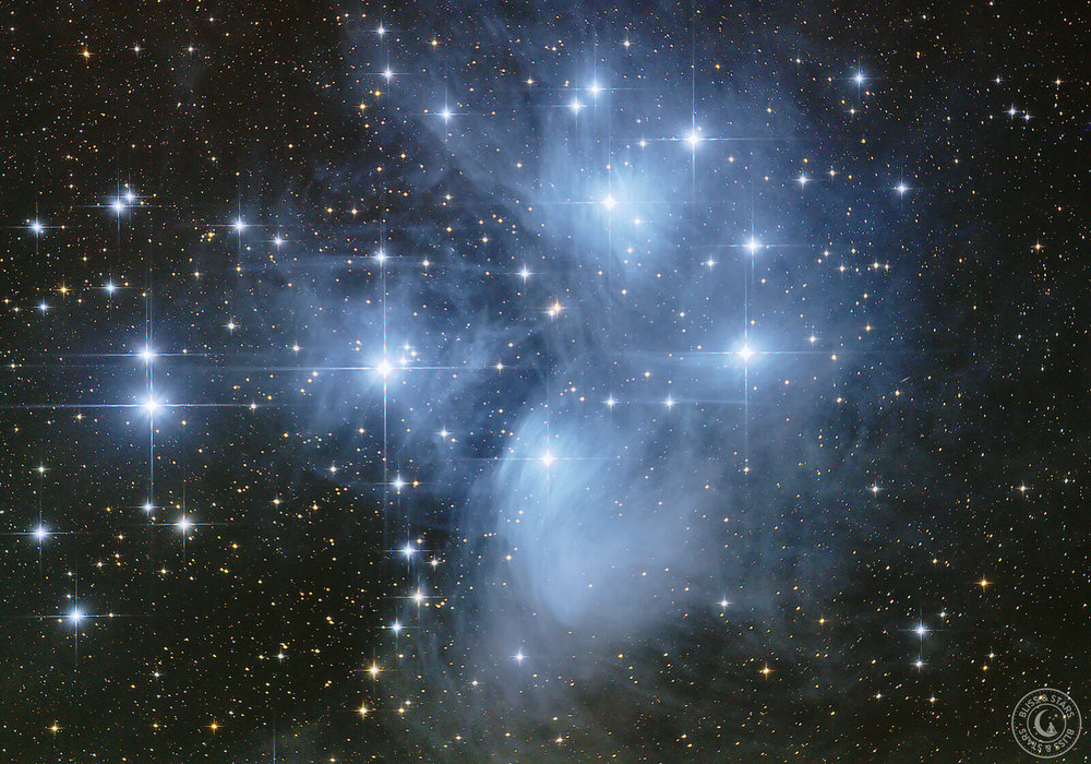 The Pleiades or Seven Sisters is part of most cultures mythology, astrophotography by Heine Wieben Rasmussen, Bliss and Stars