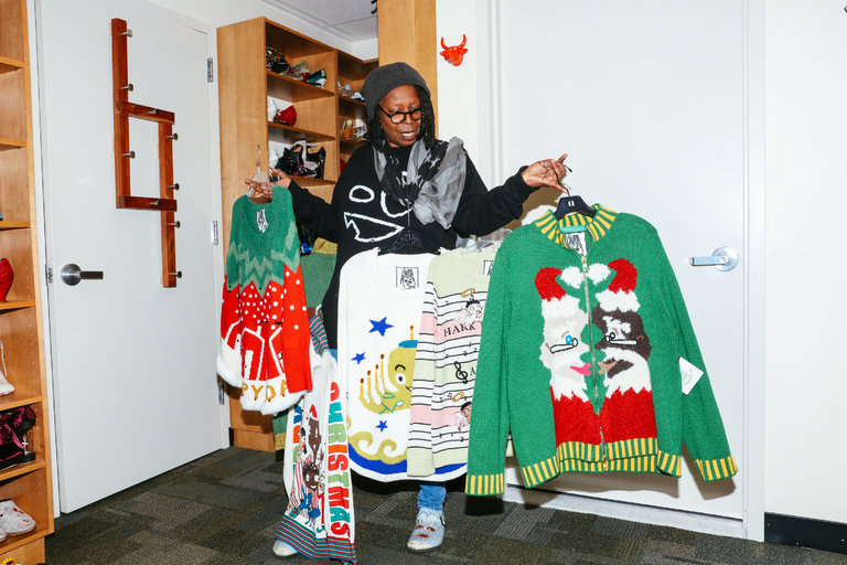 Hot Fashion News Whoopi Goldbergs Ugly Xmas Sweaters Pgf