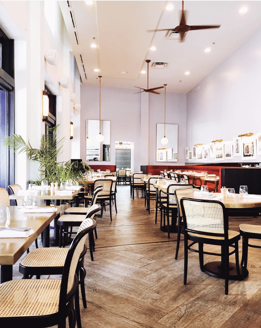 Up On Knox - This Uptown brasserie makes a gorgeous statement with rich jewel tones, brass embellishments, rattan chairs and a floral accent wall. Meet up for before-dinner cocktails or slide into one of their velvet booths for chickpea fritters and bucatini.
