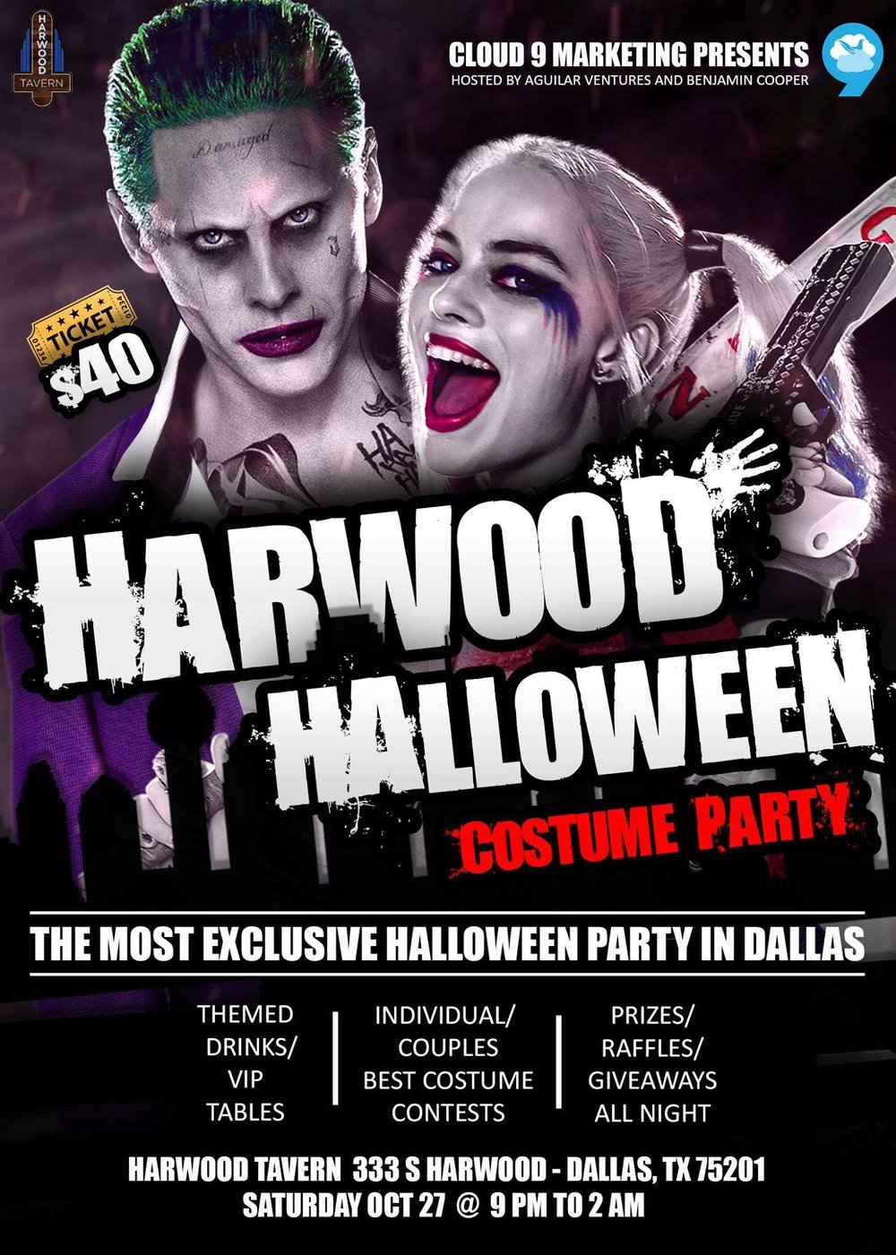 Harwood Halloween Costume Party | Harwood Tavern 10/27 - Sexy, scary, or downright cute, head to the Harwood Tavern Sports Bar Saturday, October 27th at 9 PM for the Harwood Halloween Costume Party. Come solo or with your boo for the crowning of best individual costume as well as best couples costume. Harwood plans to offer spooky themed drinks, raffles and prizes every hour, professionally done photographs for your night to remember, and indoor and outdoor party areas for guests to mingle.