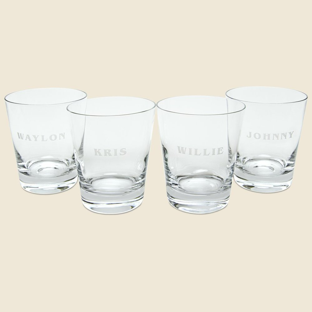 STAG Provisions The Highwaymen Tumbler Set ($88) - Spark some conversation over cockails (whiskey) with this hand-cut ode to the Highwaymen. This set of four glasses includes Johnny, Waylon, Willie, and Kris.
