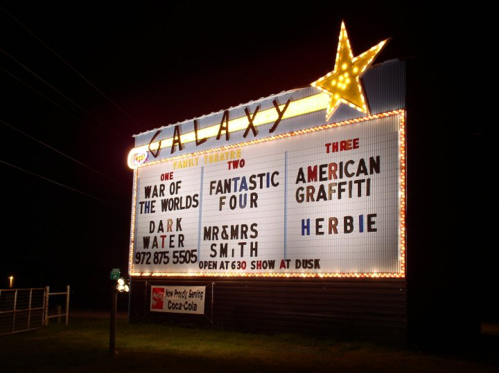 Galaxy Drive-In Theatre - If you want to see a new, major motion picture release but want a unique theater-going experience as well, your best bet is the Galaxy Drive-In. Located south of Dallas near Ennis, this drive-in shows double features of the latest blockbusters. Tickets are just $7.00 to see two movies. Talk about a great deal. This winter, they're open Thursday-Sunday night.