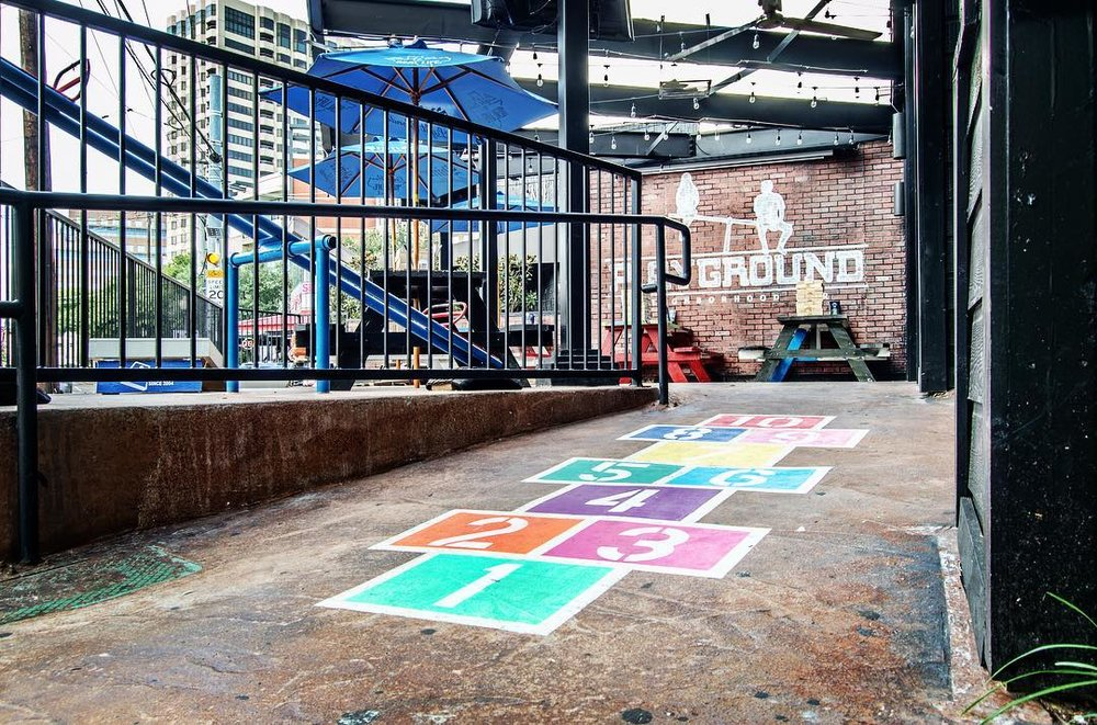 Playground | 2908 McKinney Ave. - This Uptown bar is serving it up with a side of nostalgia, with swingsets, hopscotch, and even seesaws. And if that's not enough to make you feel like a kid again, there's an entire menu of spiked childhood favorites, ranging from freeze pops to Yoo-Hoo and Capri Sun. Oh, and street tacos.