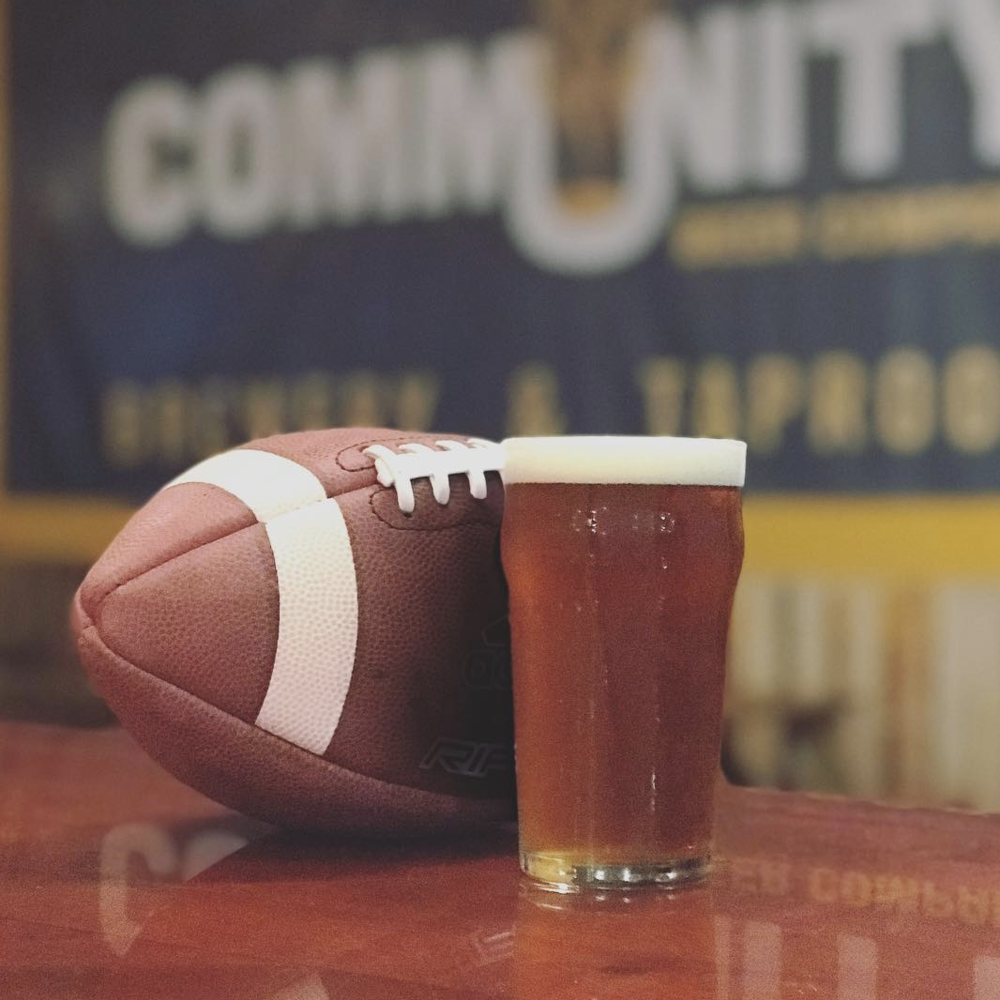 Community Beer Company - Doors open at noon, so you might not even remember the score by the end of the game, but there'll be food trucks and craft beer galore. Wear either team's jersey and the first pint is on Community. (Photo by Community Beer Company)