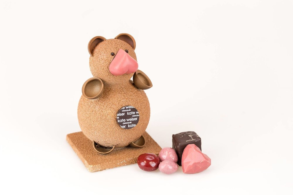 Teddy Bear | Kate Weiser Chocolate - One does not just walk away from Kate Weiser Chocolate empty handed. Go for the Teddy Bear and discover all the Valentines chocolates inside or keep it more traditional with her Artist Collection - 15 Piece Box is filled with hand-painted bonbons that range from strawberry basil to toasted coconut to salted caramel. (Or why not both?) They also will be hosting three Valentine's Heart Candy Bar classes where you can make your own heart-shaped candy bars. (Photo: Kate Weiser Chocolate/Facebook)