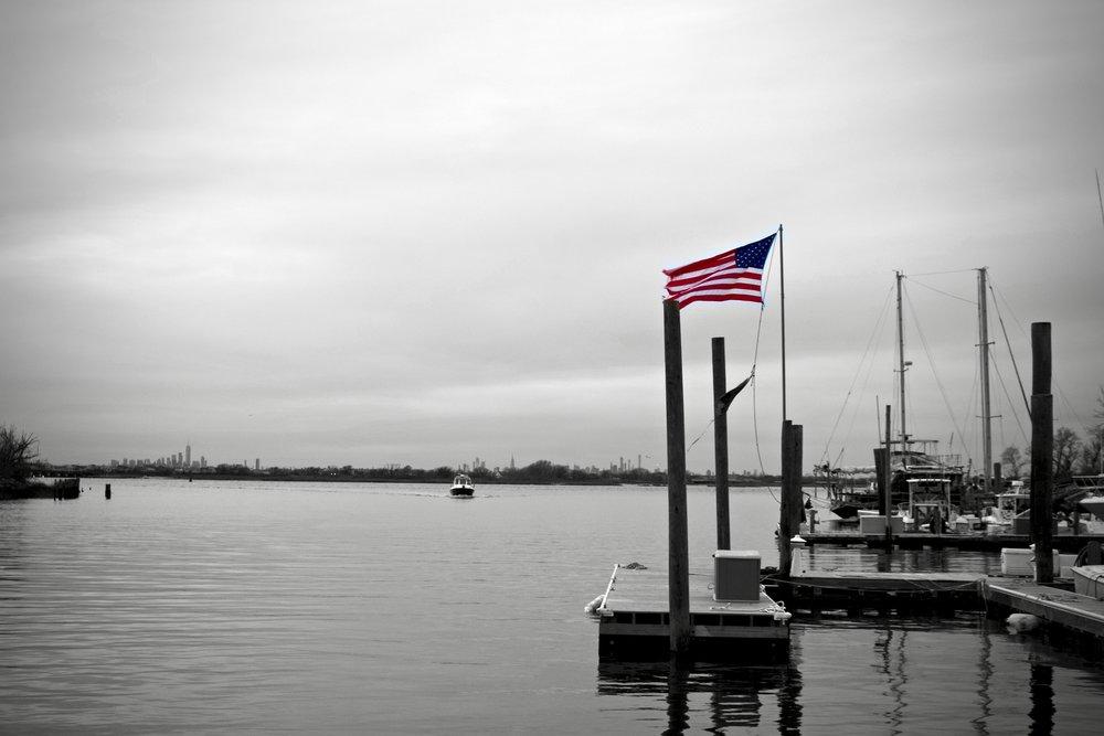 Flag over Marina 59 (Rockaway Beach) - B&W
