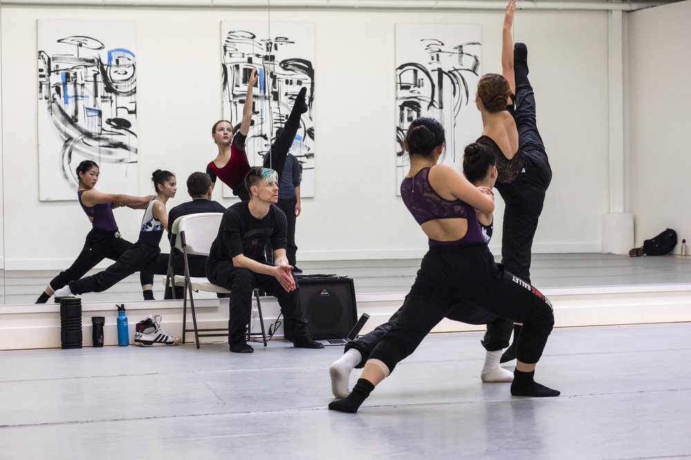 BBT Youth Company dancers  rehearsing Raymond Ejiofor's new work for BBT @ BAMPFA ,  photo by Natalia Perez