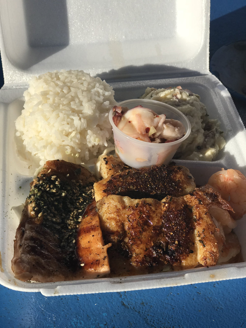 Shoreline Chef Plate.  Blackened island fish of the day (snapper), garlic shrimp, furikake salmon, rice, salad, and a serving of poe of your choice (tako poke).