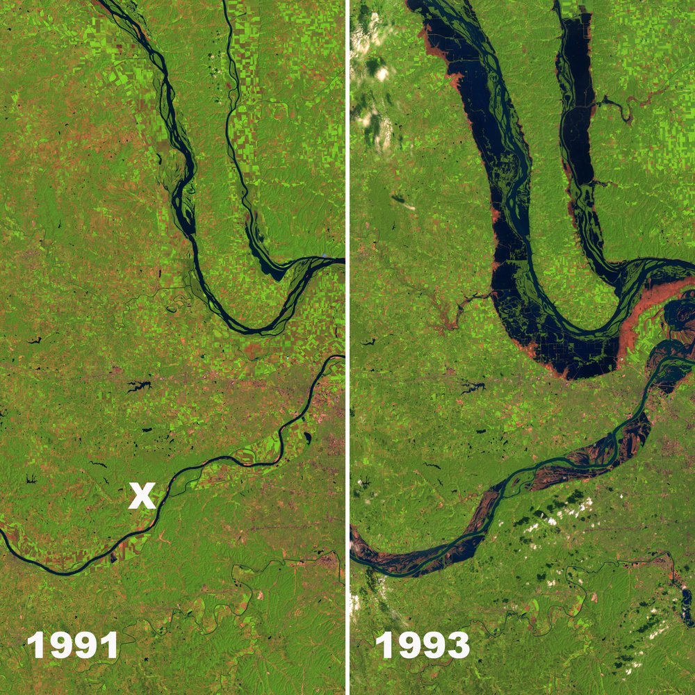 Before and After NASA Images of the Missouri area.  The approximate location of Defiance, MO is shown by an X.