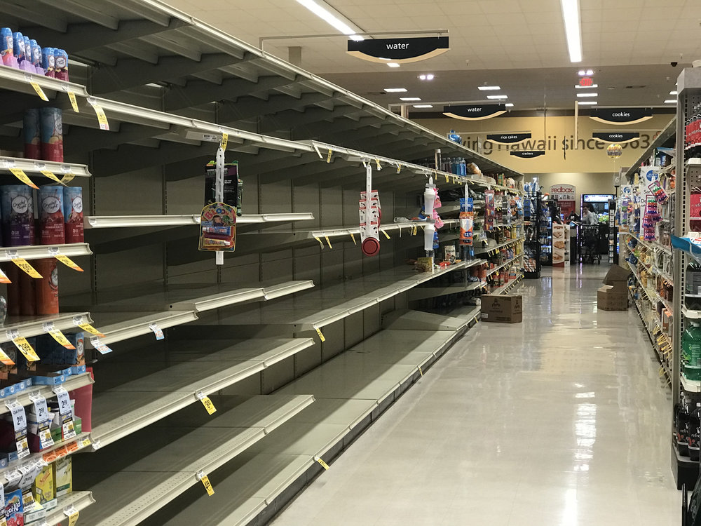 Safeway Ewa Beach on Wednesday . Empty shelves were typical at most grocery stores around the island.