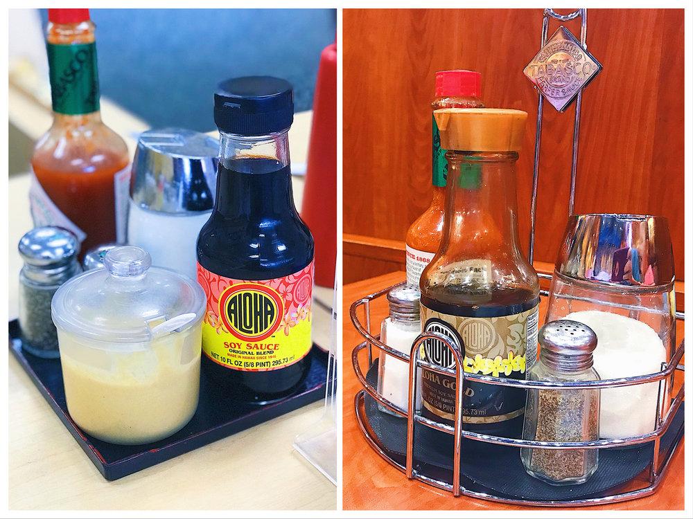 Condiments on the table at Shiro's Saimin Haven (left) and Zippy's.  Aloha Shoyu, hot Chinese mustard (Shiro's only), salt, pepper, sugar, Tabasco sauce.