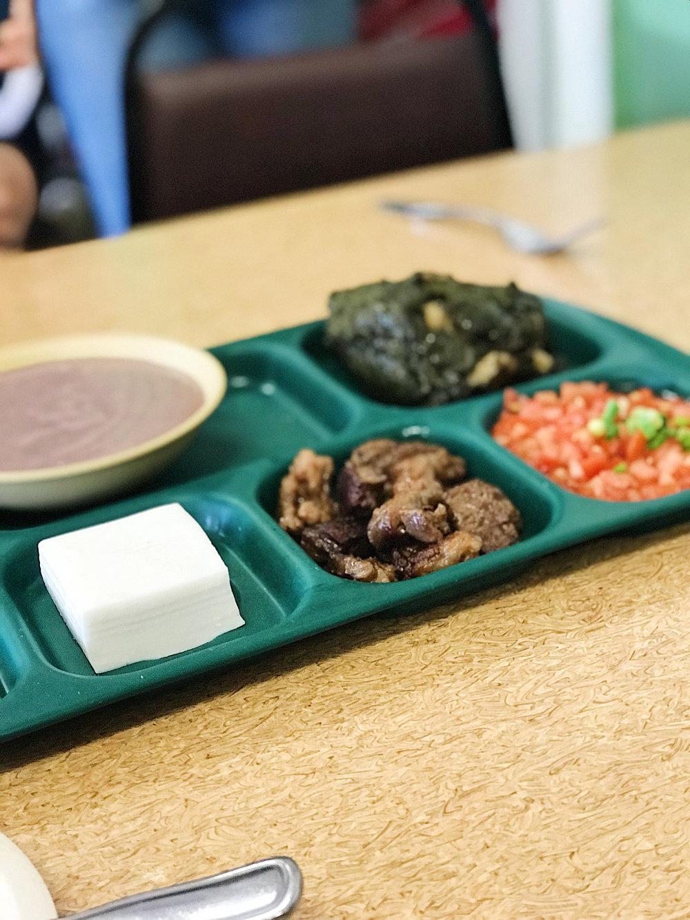Pork Lau Lau Combination Plate . Pork lau lau, pipikaula, lomi salmon, poi, haupia.