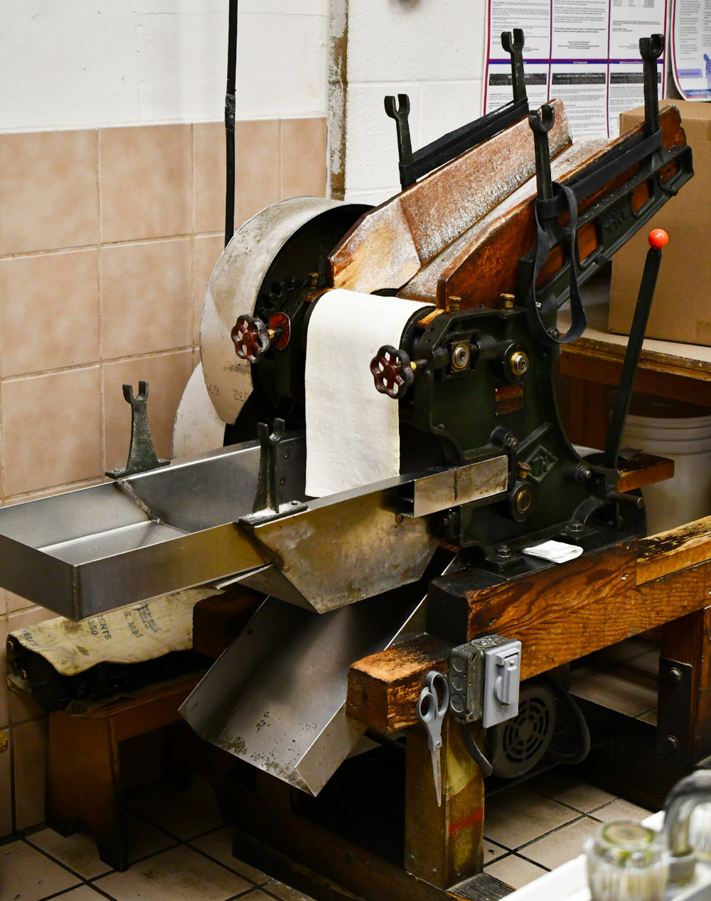 The original noodle machine from the 1950's used to make the noodles at Shige's Saimin Stand. The noodles are made fresh daily.