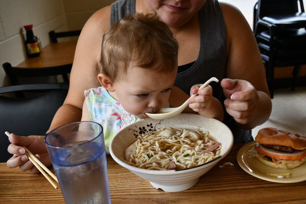Jacqui and baby sharing the large wunton mein. Nugget does have her own bowl, but she insistd on trying mommy's soup… quality control.