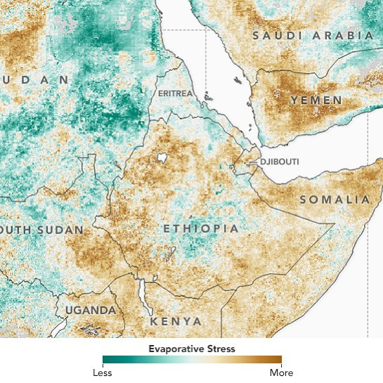 Chart by NASA Earth Observatory showing the evaporative stress levels across Ethiopia and northern Kenya between Nov 2016 and Feb 2017. Almost the entire region has to cope with extreme water shortages. Find the full article here: https://goo.gl/rjA3Aw #BuildingResilience #BMBF #TUHH #IFRC #kenyanredcross #Kenya #ethiopianredcross #Ethiopia #drought #localinnovation #nasa