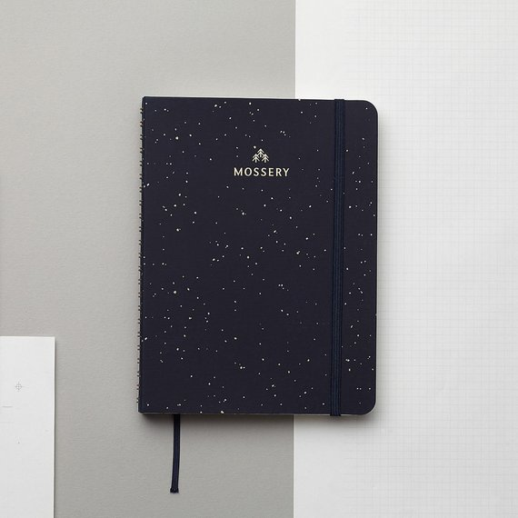 Galaxy Gold Foil Personalized Notebook, Mossery Co