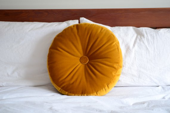 Mustard velvet cushion, Live Love Smile
