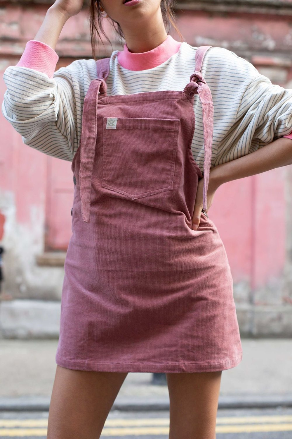 'Organic Mini Pini' Corduroy Dress in Ash Pink, Lucy & Yak