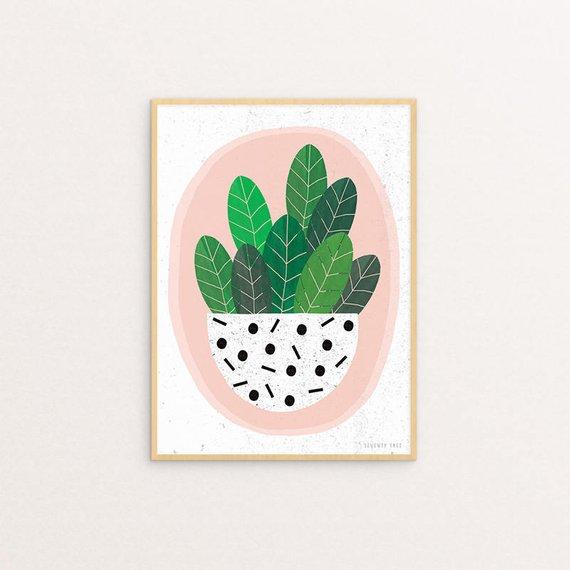 Pot Plant Print, Seventy Tree