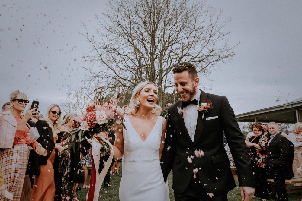 A bride and groom get married at Waldara Farm near Oberon