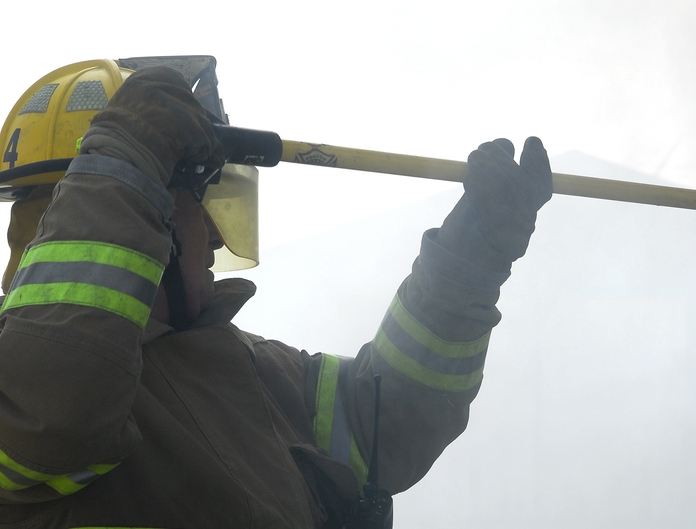 A fire investigator at work