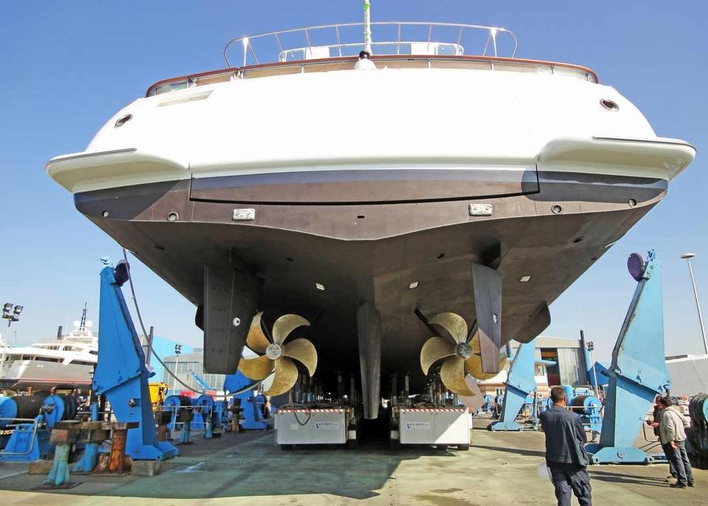 A Superyacht out of the water for a hull survey
