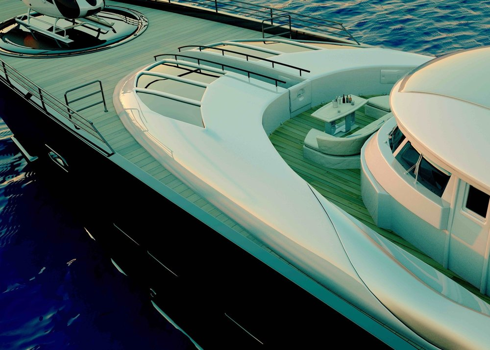 A Superyacht deck with visible safety precautions
