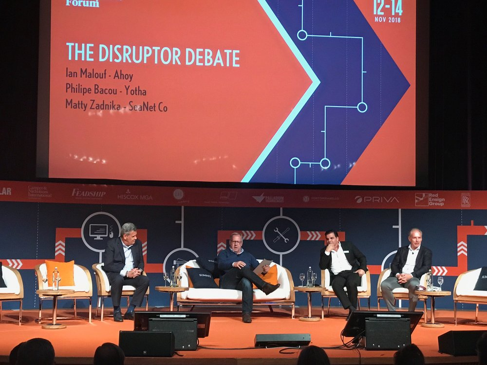 The panel at 'The Disruptor Debate' at The Superyacht Forum' 2018