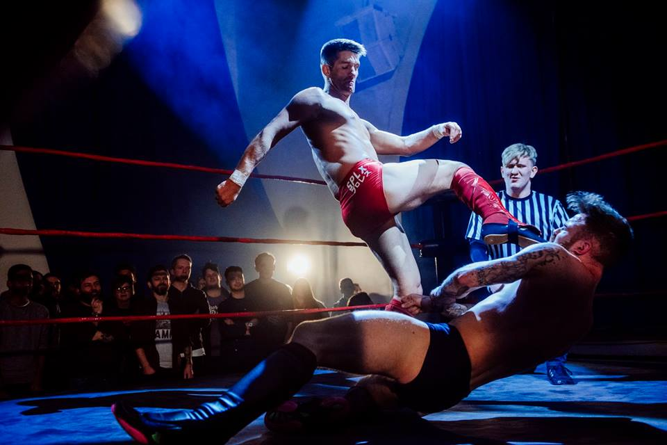 Chris Ridgeway gets kicked in the face by Zack Sabre Jr. (photo: The Head Drop)