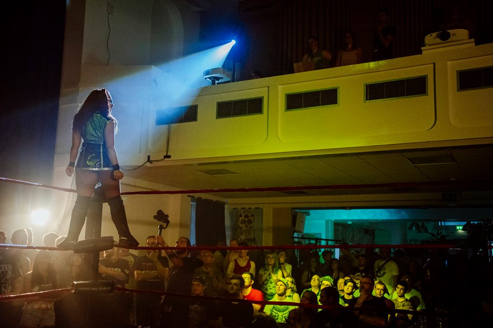Veda Scott makes her entrance at the Brighthelm Centre (photo: The Head Drop)
