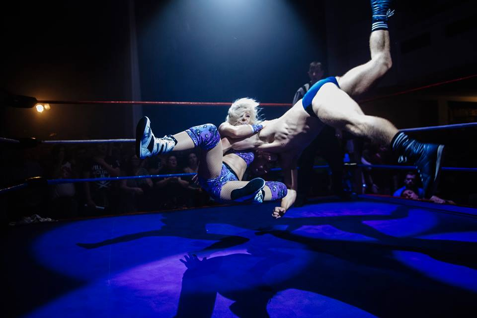 Candice LeRae lands an incredible flying DDT on Tyler Bate at RIPTIDE Returns (photo: The Head Drop)