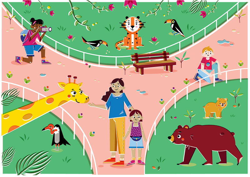 Let's go to the zoo - Vector Illustration © Emeline Barrea, All rights reserved