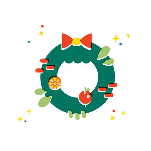 Christmas Wreath - Vector Illustration © Emeline Barrea, All rights reserved