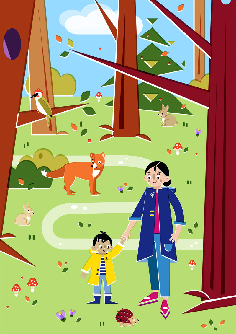 Into the Woods - Vector Illustration © Emeline Barrea, All rights reserved