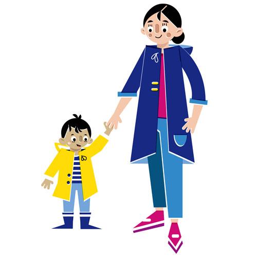 Mother & Son - Vector Illustration © Emeline Barrea, All rights reserved
