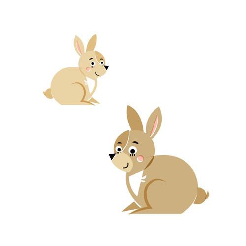 Rabbits - Vector Illustration © Emeline Barrea, All rights reserved