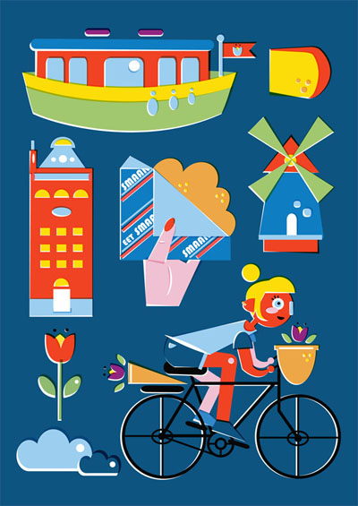 Amsterdam - Vector Illustration © Emeline Barrea, All rights reserved