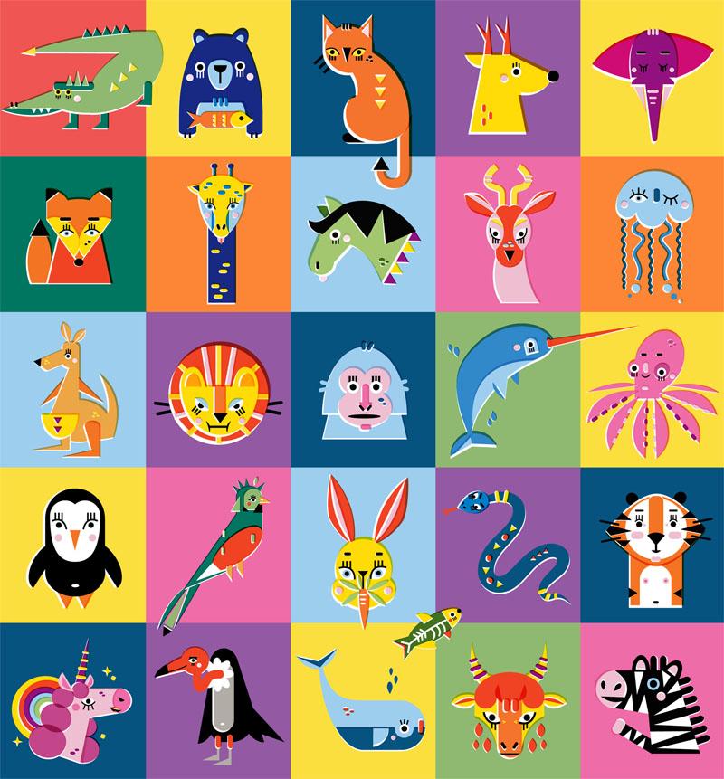 Animal Alphabet - Vector Illustration © Emeline Barrea, All rights reserved