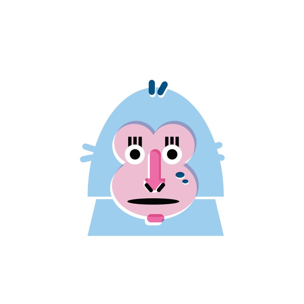 Monkey - Vector Illustration © Emeline Barrea, All rights reserved